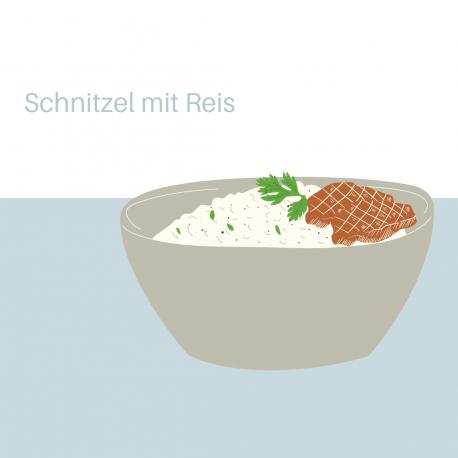 Schnitzel mit Reis